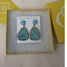 NWT Kendra Scott Earrings TURQUOISE & GOLD HTF & NIB with Kendra bag & Kendra box! These gorgeous earrings were misplaced when I needed them and now I've decided to sell them. My loss is your gain. No offers. No trades. $45 shipped 🅿️🅿️. That's a steal! Kendra Scott Jewelry Earrings