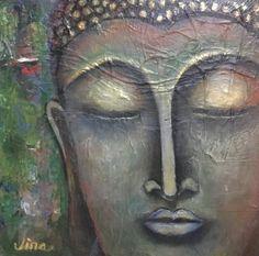 """Enlightened"" Buddha Painting (Mixed Media)"