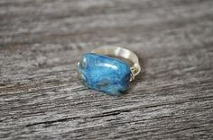 Turquoise Crazy Lace Agate Gemstone Silver Sterling Wire Wrapped Ring by ariamy for $10.20 #zibbet #jewelry