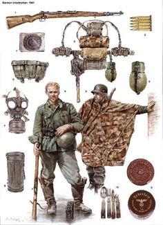 equipos comunes en 1942-44 1: avanzada la guerra no era usual en el equipo del riflero material capturado o de inferior calidad, especialmente en unidades de seguridad, entrenamiento o reemplazo. Este equipo carece de tiras para los hombros (al parecer común en la retaguardia y en unidades de soporte), pero cuenta con un cinturón con hebilla, un contenedor de cartuchos polaco (originalmente para la carabina Wz.24, aunque servía para el Kar. 98k), herramienta de entrincheramiento polaca y