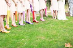 Rainbow parasols + pretty pumps