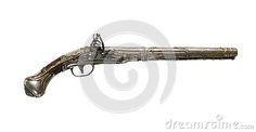 Old flintlock gun isolated on white.