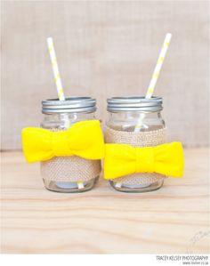 Bow-tie Mason Jars DIY - http://www.decoradvisor.net/amazing-ideas/bow-tie-mason-jars-diy/