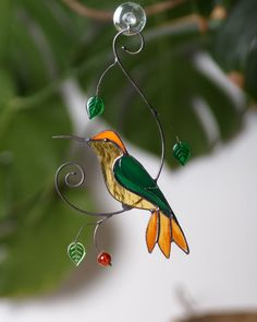 This Hummingbird stained glass window hangings gift for mom Custom stained glass bird suncatcher hummingbird gift for housewarming is just one of the custom, handmade pieces you'll find in our suncatchers shops. Custom Stained Glass, Stained Glass Birds, Stained Glass Projects, Stained Glass Patterns, Stained Glass Windows, Fused Glass, Window Hanging, Glass Wall Art, Glass Ornaments
