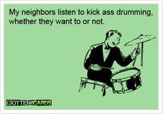 Sharing is caringof uw buren van u? Last van uw buren? Drummer Humor, Drummer Quotes, Music Memes, Music Humor, Trommler, Monkeys Band, Marching Band Memes, Drum Music, Drum Solo