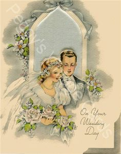 350 Vintage Greeting Card Wedding Images on by PeggyLovesVintage. $9.99 USD, via Etsy.