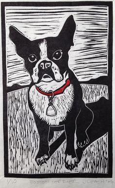 Boston Terrier linocut woodcut linoleum block by SawingLogsGallery