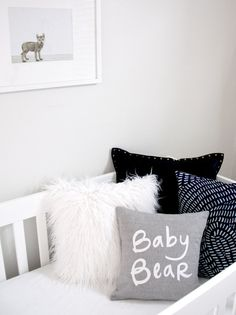 Baby Bear Pillow, Grey and White by Bright July