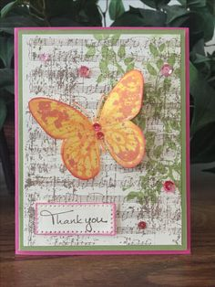"Thank you card using Fun Stampers Journey products including - ""Beautiful Wings"" stamp set and the ""Vintage Notes"" and ""Branch"" stamps for the background."