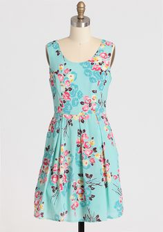 """Rosette Breeze Floral Dress 52.99 at shopruche.com. A feminine floral print lends modern romance to this lightweight mint dress rendered in a classic silhouette. Perfected with a defined waist, a charming scoop neckline, a hidden tulle hem for fullness in the skirt, and delicate gathers for an oh-so-sweet look. Hidden side zipper closure. Fully lined.100% Polyester, Imported, 34"""" length from top of shoulders, ..."""