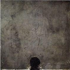 Antoni Tapies - Black Black Form on Grey Square