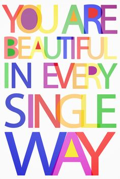 YOU ARE BEAUTIFUL in every single way 16x20 big art print, nursery and kids room decor. $34.00, via Etsy.
