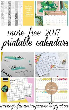 Musings of an Average Mom: Free Printable 2017 Calendars - Part two