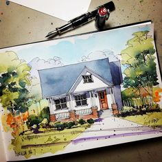 bungalow sketch by Don Gore (dgdraws), via Flickr
