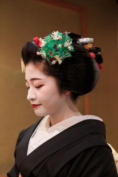 ああ、紗月さんもついに舞妓さんをご卒業です。 芸妓さんになる「襟替え」を前に、ほんの2週間だけ結われる髪型「先笄」。 黒紋付・先笄姿の紗月さんと出...