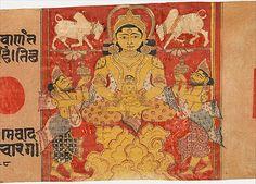 """""""Pintura hecha en el siglo XIV. Se trata de una representación magistral de un sujeto popular, el baño de Mahavira en el nacimiento. La identidad de la jina está indicado por el par de búfalo de rodillas, su símbolo cognitivo. El niño está sentado en el regazo del presidente Shakra dios (Indra), y dos dioses que conlleva (más manifestaciones de Shakra) sostienen vasos de depuración en el aire a la espera de su primer baño (una leyenda compartida con el budismo primitivo)."""""""
