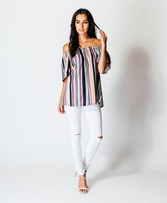 Ladies multi stripe off the shoulder bardot summer top .