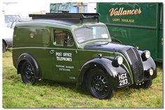 Morris Eight Series Z Van front - In 1940, the long-serving pre-war Morris Minor mailvans gave way to the Series Z, which featured a larger version of the standard coachbuilt body grafted onto the Morris front end; very soon, however, the factory-built panel van had to be accepted by the GPO. Deliveries continued until 1953, when the Series Z was replaced by the familiar, post-war Morris Minor. Vintage Vans, Vintage Trucks, Old Trucks, Pickup Trucks, Classic Cars British, Classic Trucks, Pick Up, Old Commercials, Panel Truck