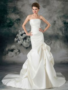 Ivory Mermaid Strapless Flower Satin Wedding Dress For Bride - Milanoo.com