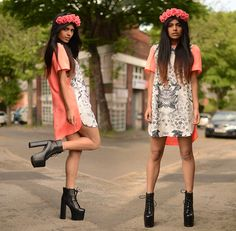 Cage City Finders Keepers Dress, Crown & Glory Coral Floral Crown, Jeffrey Campbell The Big Lita
