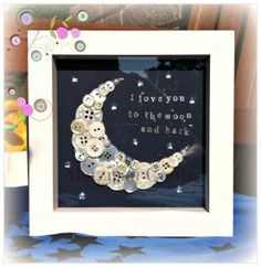'I love you to the moon and back' Button Art
