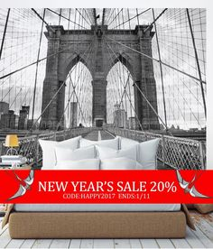 Brooklyn Bridge Photography in an oversize sticker poster. Just peel off the sheets and apply to your wall to get this stunning look! Our Peel and Stick products are repositionable and will not damage your walls when you remove them.  [Size] 10w x 8h (120w x 96h) (304 CM wide x 243 CM tall)   [Whats Included] 5 sheets of 24w x 96h peel-n-stick fabric wallpaper Please Note: Our standard wallpaper is slightly translucent. We recommend using our wallpaper over a white or light colored surface…