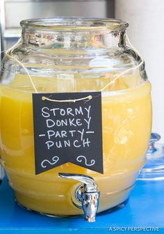 Easy to Make Stormy Donkey Party Punch - Large Batch Cocktail for Summer & Fall Parties! | ASpicyPerspective.com