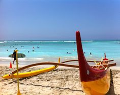 Outrigger canoe at Waikiki beach.