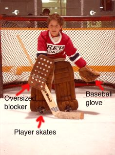 How to equip a 9 year old goalie :) #baseballglove #oversizedblocker Credits: The poke check diaries