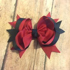 Gamecock hairbow, football hair bow - Hairbow , hair clip bow, girls hair bow - stacked boutique  - spikes, TBB, scarlet and black by BBgiftsandmore on Etsy