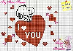Snoopy in love Cross Stitch Heart, Cross Stitch Cards, Cross Stitching, Cross Stitch Embroidery, Beaded Snoopy, Snoopy Valentine, Valentines, Embroidery Patterns, Cross Stitch Patterns