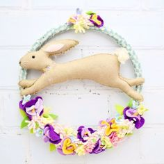 All you need is an old embroidery hoop, some scraps and a hot glue gun to create this enchanting little bunny decoration!