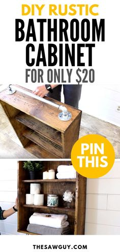 Jan 2020 - Organize your bathroom essentials with inspiration from the charming countryside.This rustic cabinet will only Rustic Bathroom Cabinet, Rustic Bathroom Mirrors, Small Rustic Bathrooms, Rustic Bathroom Lighting, Rustic Bathroom Designs, Rustic Cabinets, Rustic Shelves, Diy Cabinets, Rustic Lighting