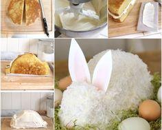 DIY How to Make White Chocolate Buttercream Easter Bunny Cake, Easter Cupcakes, Bunny Cakes, Easter Dinner Recipes, Easter Brunch, Cake Decorating Techniques, Cake Decorating Tips, Fondant Cake Tutorial, Fondant Bow