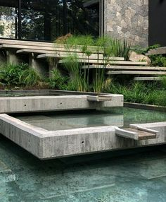 The 'Entreparotas House' m²). Designed by Di Frenna Arquitectos Located in Colima, Mexico. Photo by Lorena Darquea Schettini. Water Element, Outdoor Furniture, Outdoor Decor, Architecture Details, Pond, Fountain, Concrete, Mexico, Construction