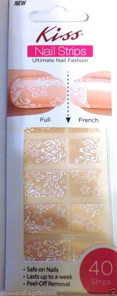 Kiss Nail Stick on Applique Strips French or Full 40 Strips # DMT 526 Flowers #KissNailDress