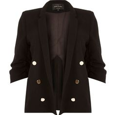 River Island RI Plus black buttoned blazer ($71) ❤ liked on Polyvore featuring outerwear, jackets, blazers, black, coats / jackets, women, plus size jackets, womens plus size blazers, tailored jacket and tailored blazer