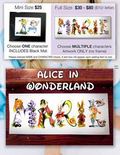 Custom Alice in Wonderland Name Painting - Disney name painting, drawing, Alice art, Alice in Wonder