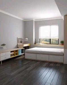 Small Bedroom Interior, Small House Interior Design, Home Room Design, Small Room Design, Small Room Bedroom, Small Apartment Interior, Small Apartment Design, Attic Bedrooms, Interior Office