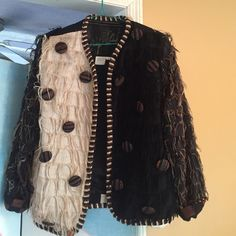 Cotton jacket Cotton fringe jacket with decorative buttons Crystal Jackets & Coats Blazers