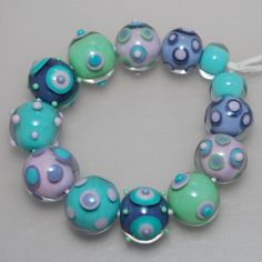 Pretty Spotted Multi Colored Lampwork Glass Bead Set by genschi, $44.50