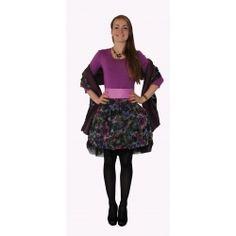 Robe Mary haut rose, jupe  fondu de bleu et rose et noir.