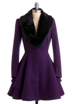 Dress coat with detachable faux fur collar. Perfectly balanced top and bottom halves!