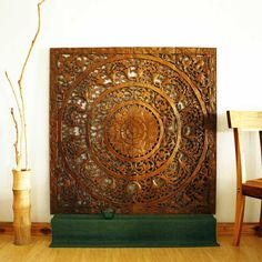 reclaimed teak wood lotus art