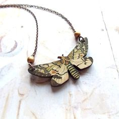 Woodland Moth  Wooden Moth with Gold Glass Beads by ComeDayGoDay, $24.00