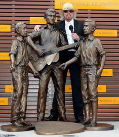 Tribute: Barry Gibb unveiled a bronze statue of him and his brothers during their time in the Bee Gees. Redcliffe, Qld.