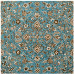 Bella Blue/Taupe (Blue/Brown) 5 ft. x 5 ft. Square Area Rug