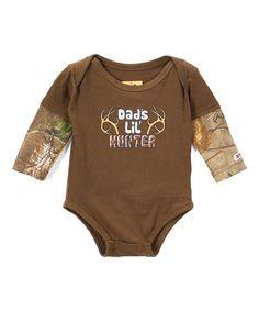 Olive & Camo 'Dad's Lil' Hunter' Bodysuit - Infant #zulily #zulilyfinds