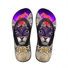 c12c43891ffd64 Twoheartsgirl Kawaii Printing Cat Flip Flops for Women Purple Ladies Summer  Beach Sandals Slippers Soft Female Rubber Flipflops