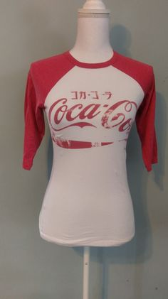 Coca-Cola Women's White Red Baseball Tee Tokyo Japan SIZE S #cocacolavintage #GraphicTee